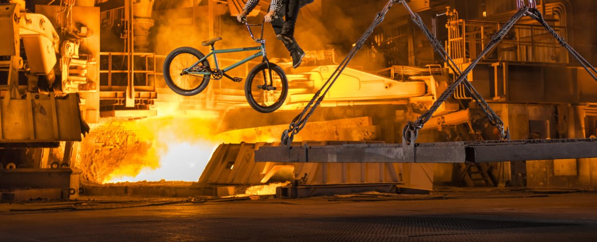 Vasya Lukyanenko perorms near Blast Furnace during Riding Over City of Steel in Zaporizhia, Ukraine on October 14th, 2015